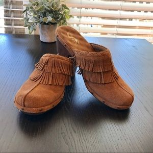 NWOT Brown Suede Boho Fringed Clogs
